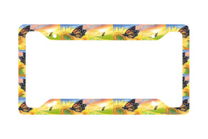 Airstrike® Sunflower License Plate Frame, Butterfly Car Tag Frame, Butterflies License Plate Holder, Sunflowers  Decorative License Plate Frame-30-214