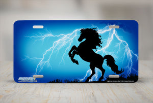 "Airstrike® 360-""Lightning Horse on Blue"" Rearing Horse Airbrushed License Plates"
