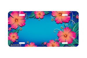 "Airstrike® Beach License Plate 554-""Hibiscus""-Hawaiian Flowers License Plate"