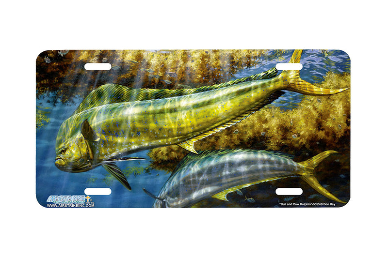 "Airstrike® Fishing License Plates 5055-""Bull and Cow Dolphin""-Dolphin Fish License Plate"
