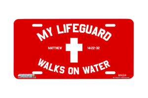 "Airstrike® Cross License Plate 7203-""My Lifeguard""-Christian License Plate"