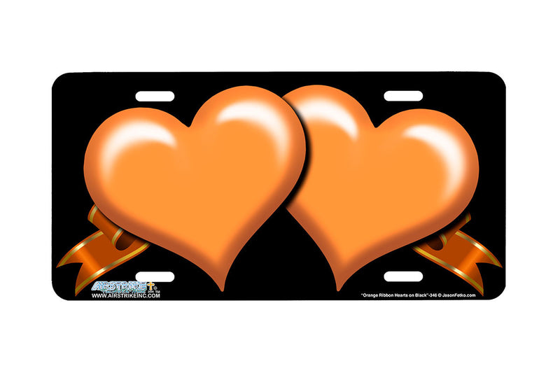 "Airstrike® 346-""Orange Ribbon Hearts on Black"" Heart Airbrushed License Plates"