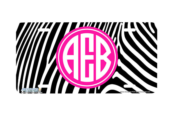 "Monogrammed License Plates Monogram License Plate Monogrammed Car Tags ""Zebra Monogram Pink""-692"