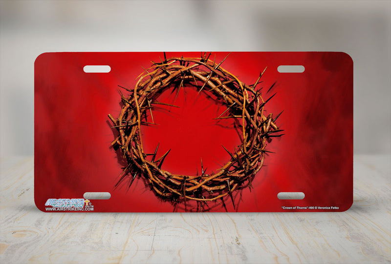 "Airstrike® Christian License Plate 490-""Crown of Thorns""-Christian License Plates"