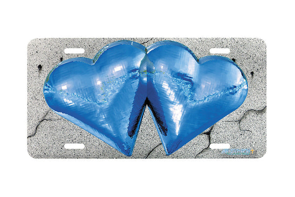 "Airstrike® 217-""Blue Metallic Hearts"" License Plate"