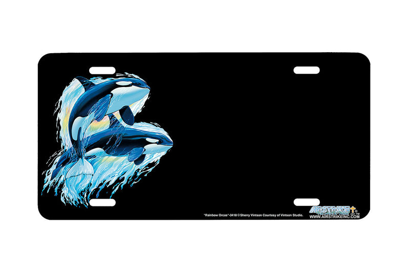 "Airstrike® Whale License Plate  3418-""Rainbow Orcas"" Killer Whale License Plate"