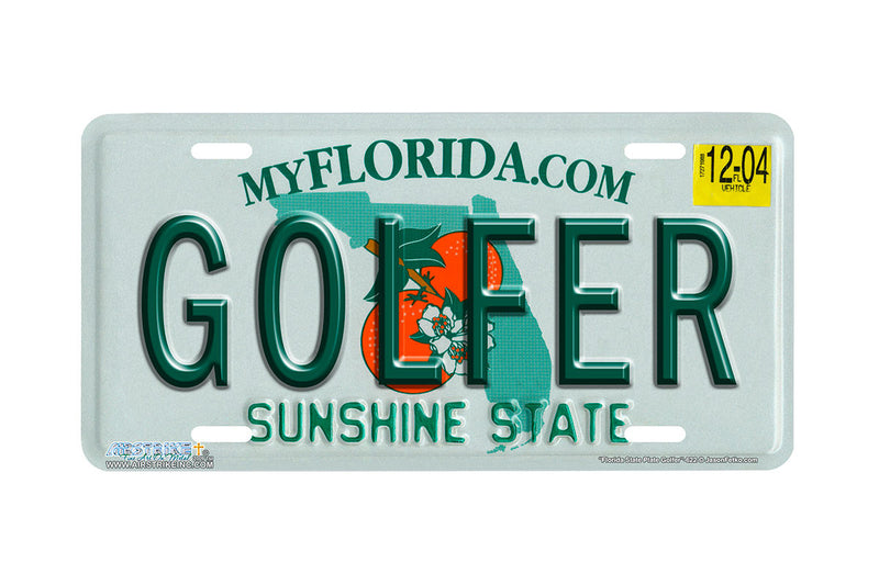 "Airstrike® 622-""Florida State Plate Golfer""-License Plate"