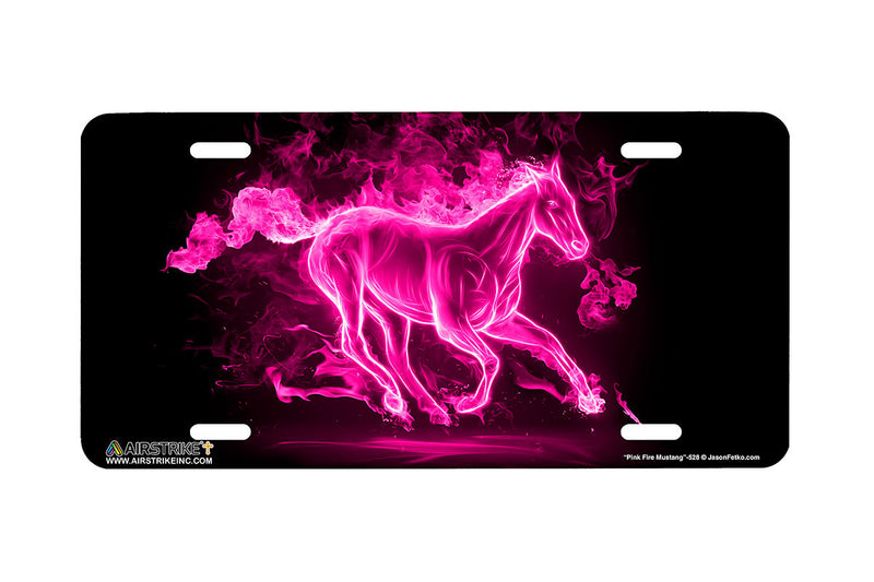 "Airstrike® Mustang License Plate 528-""Fire Mustang Pink""-Horse License Plates"