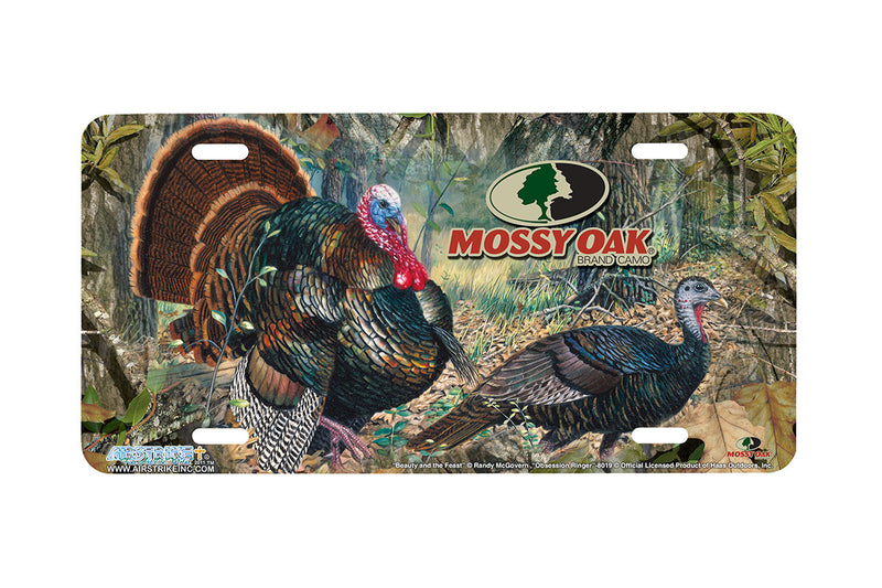 "Airstrike® Mossy Oak License Plate 8020-""Obsession Ringer with Beauty and the Feast""-Mossy Oak Camo Turkey License Plate"