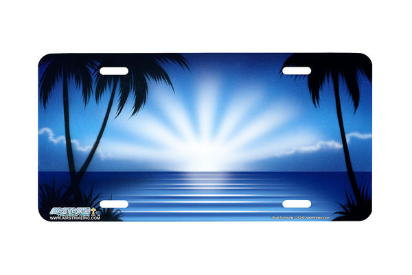 "Airstrike® Beach License Plate 310-""Blue Sunburst"" Beach Scene Airbrushed License Plate"
