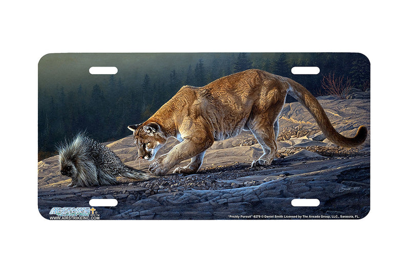 "Airstrike® 8279-""Prickly Pursuit""-Cougar and Porcupine License Plate"