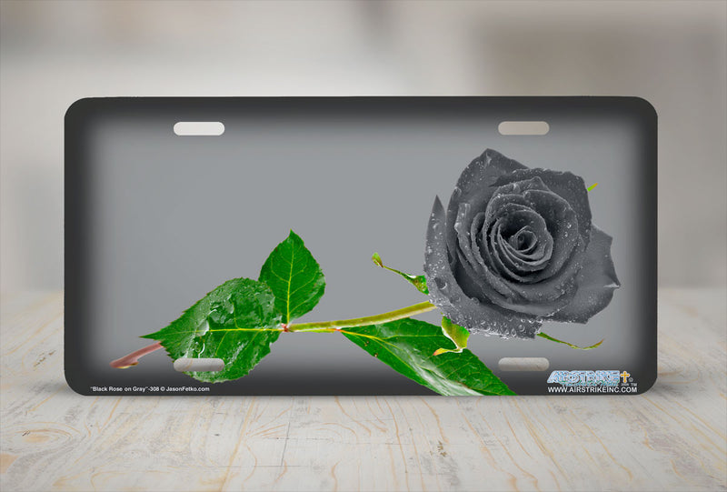 "Airstrike® 308-""Black Rose on Gray"" Easily Personalized License Plates"