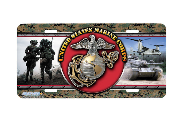 "Airstrike® Marine Corps License Plate Marine License Plate ""Marines in Action""-538"