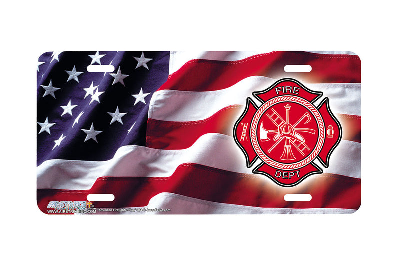 "Airstrike® Firefighter License Plate 364-""American Firefighter Flag"" Patriotic License Plates"