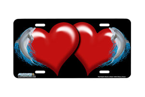 "Airstrike® Hearts License Plate 3426-""Red Dolphin Hearts on Black"" Dolphin Heart Airbrushed License Plates"