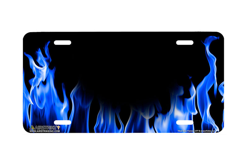 "Airstrike® 377-""Real Blue Flames"" Fire License Plates"