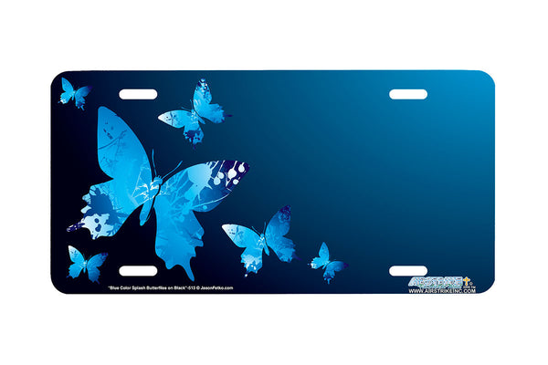 "Airstrike® Butterfly License Plate 513-""Blue Color Splash Butterflies"" Butterfly License Plate"