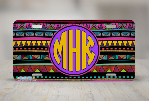 "Monogrammed License Plates Monogram License Plate Monogrammed Car Tags ""Aztec Tribal Purple""-667"