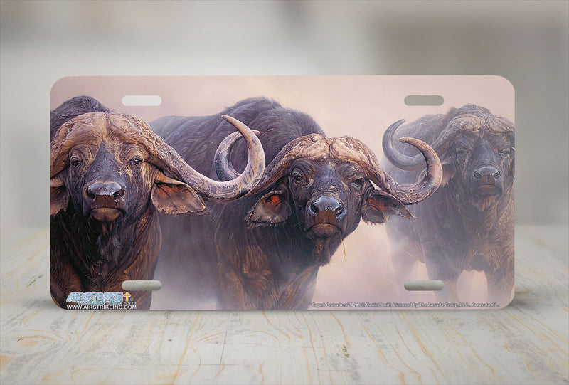 "Airstrike® 8231-""Caped Crusaders""-African Buffalo License Plate"