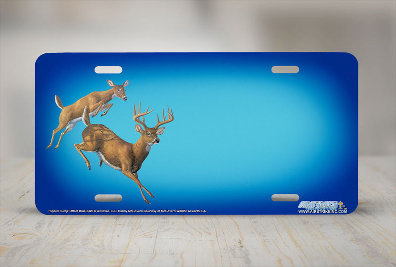 "Airstrike® 5426-""Speed Bump""-Offset Blue Deer License Plate"