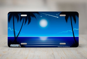 "Airstrike® Beach License Plate 319-""Moonlit Cove"" Beach Scene Airbrushed License Plate"