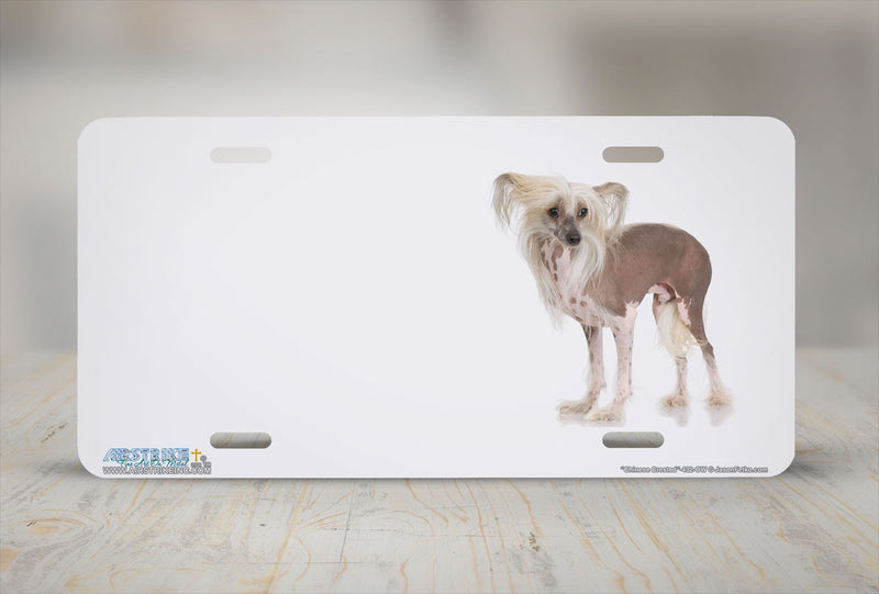 "Airstrike® 432-OW-""Chinese Crested"" Offset White Dog License Plates"