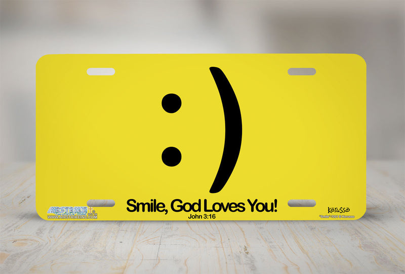 "Airstrike® Christian License Plate 7201-""Smile""-Christian License Plate"