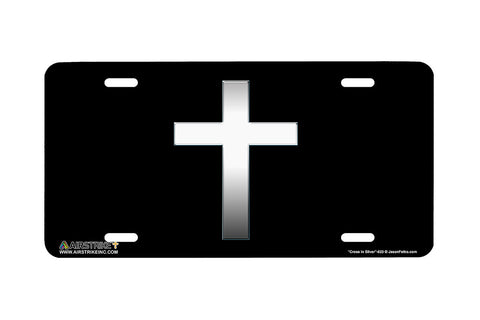 "Airstrike® Cross License Plate 623-""Cross in Silver""-Christian License Plate"
