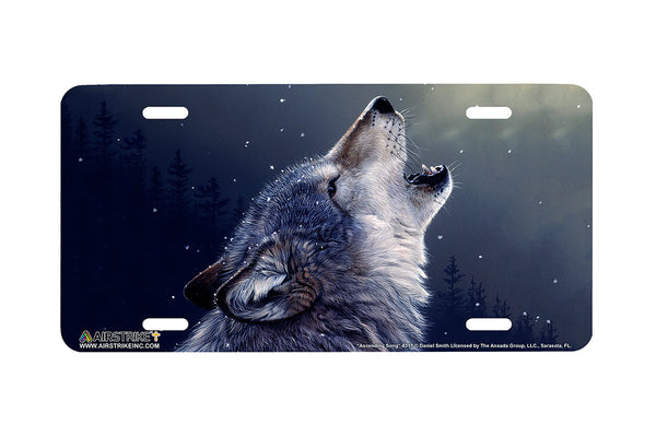 "Airstrike® Wolf License Plate 8317-""Ascending Song""-Wolf License Plate"
