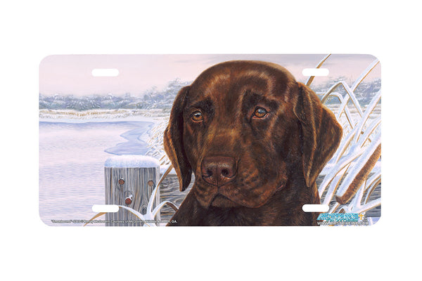 "Airstrike® 5313-""Snowbound"" Chocolate Labrador Dog License Plate"