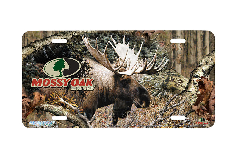 "Airstrike® Mossy Oak License Plate 8025-""Break Up Infinity Ringer with Calm Before the Challenge""-Mossy Oak Camo Moose License Plate"