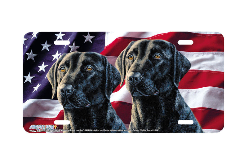 "Airstrike® 5430-""American Black Lab Duo"" Dog License Plate"