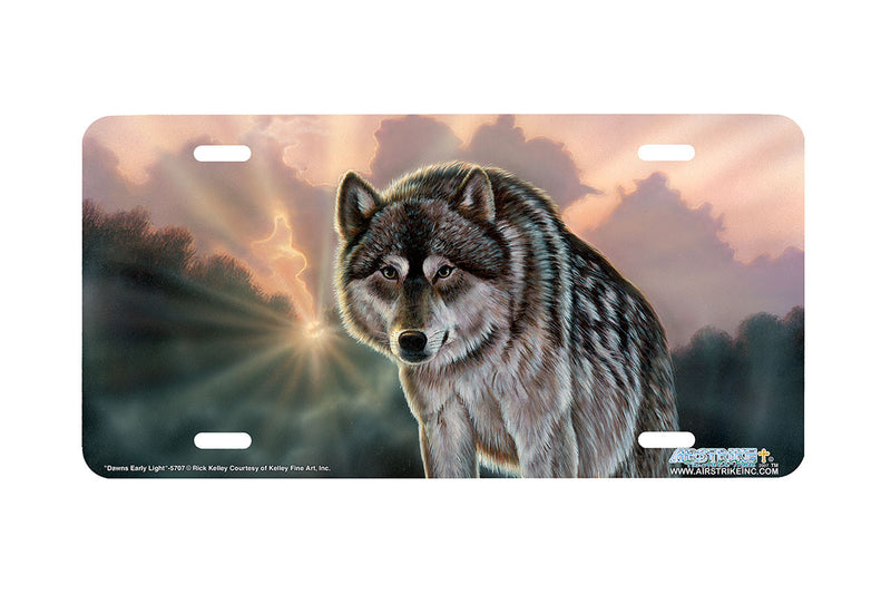 "Airstrike® Wolf License Plate 5707-""Dawns Early Light"" Wolf License Plates"