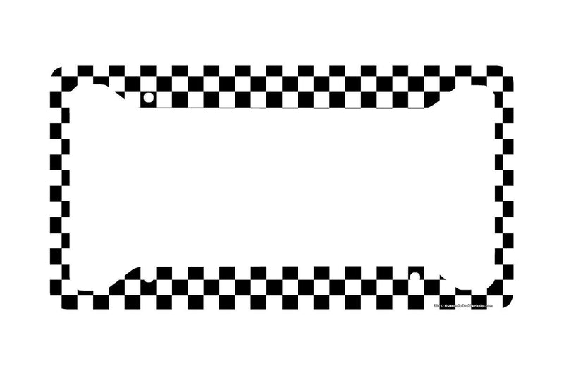 Airstrike® Checkered Flag License Plate Frame, Black and White Car Tag Frame, Racing License Plate Holder, Racing Flag License Plate Frame-30-717