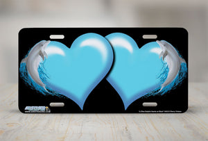 "Airstrike® Hearts License Plate 3432-""Light Blue Dolphin Hearts on Black"" Dolphin Heart Airbrushed License Plates"