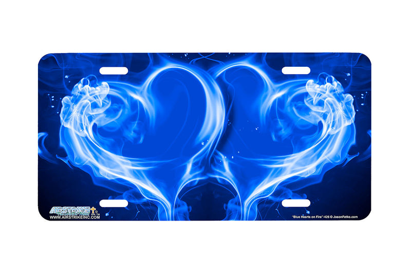 "Airstrike® 426-""Blue Hearts on Fire"" Heart Airbrushed License Plates"