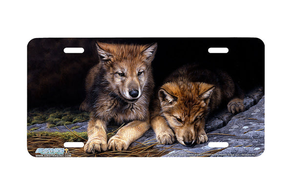 "Airstrike® Wolf License Plate 8287-""Wolf Cubs""-Wolves License Plate"