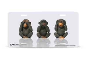 "Airstrike® 441-""See No Evil,Speak No Evil, Hear No Evil"" 3 Wise Monkeys License Plates"