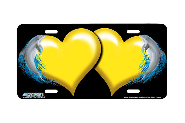 "Airstrike® Hearts License Plate 3431-""Yellow Dolphin Hearts on Black"" Dolphin Heart Airbrushed License Plates"