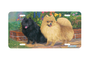 "Airstrike® 5390-""Patio Poms"" Pomeranian Dog License Plate"
