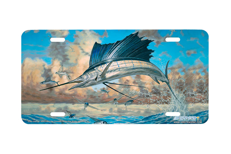"Airstrike® Fishing License Plates 5041-""Color Change"" Sailfish License Plate"