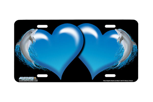 "Airstrike® Hearts License Plate 3427-""Blue Dolphin Hearts on Black"" Dolphin Heart Airbrushed License Plates"