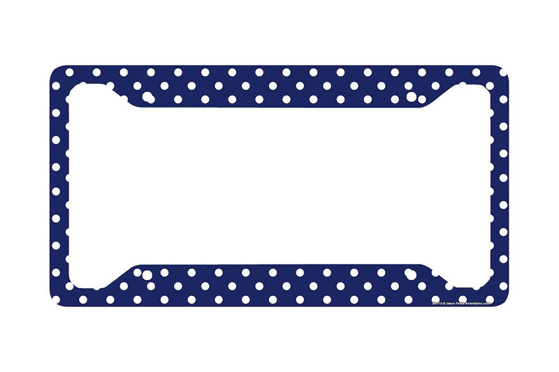 Airstrike® Polka Dots License Plate Frame, Blue Polka Dots Car Tag Frame, Polka Dots License Plate Holder, Cute License Plate Frame-30-713