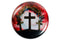 Christian Pin Back Button - Three Cross Crown of Thorns