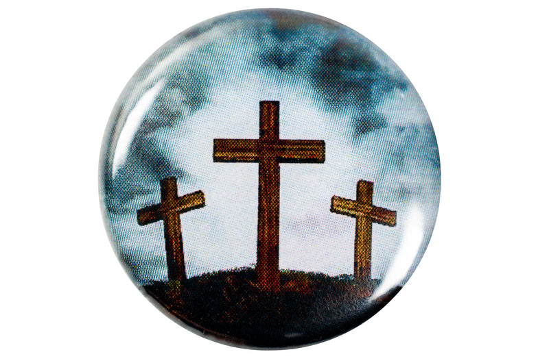 Christian Pin Back Button - Three Crosses