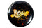 Christian Pin Back Button - Love Cursive