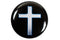 Christian Pin Back Button - Cross on Black