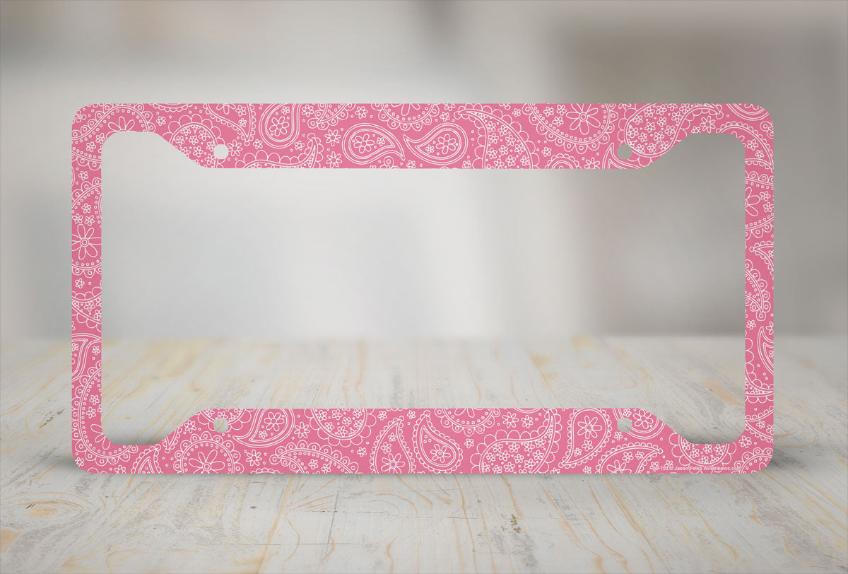 Airstrike® Paisley License Plate Frame, Pink...