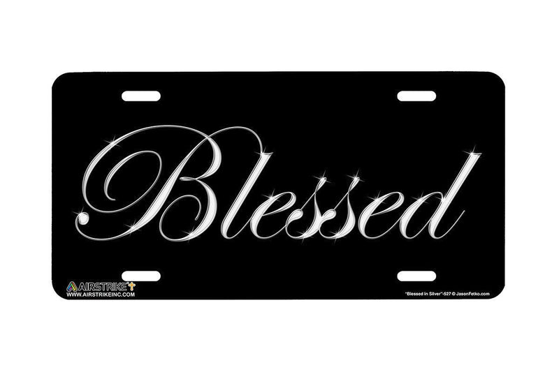 "Airstrike® Blessed License Plate 527-""Blessed in Silver""-Christian License Plate"
