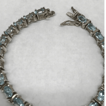 Load image into Gallery viewer, Light Blue Oval Topaz .925 Sterling Silver Bracelet